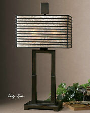 "NEW 29"" OIL RUBBED BRONZE METAL TABLE LAMP METAL MICA SHADE DESK READING LIGHT"