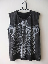 Skeleton Skull Punk Rock Funny Stone Wash Goth Tank Top Vest M