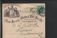 NEW YORK,NEW YORK 3CT BANKNOTE COVER, FULL LIFE INS. ADVT.  NEW JERSEY MUTUAL.