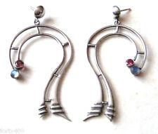Große Ohrstecker Ohrhänger mit Rubin + Mondstein 925 Sterling Silber Ohrring Neu