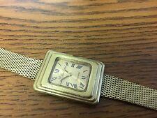 Vintage Lucien Piccard Gold Tone Watch Rectangular Art Deco Face Mesh Band