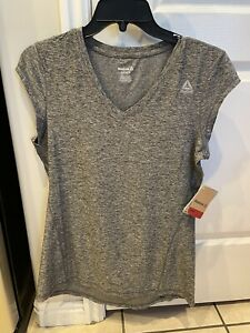 NWT Women's Reebok Slim Moisture Management Active Top Gray Size S/CH/P