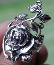 ROSE FLOWER RING 925 STERLING SILVER Size.US=9 UK=R