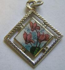 Antique Art Nouveau Silver & Enamel Alpine Cyclamen Flower Charm ~ Stunning!