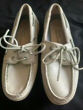Women's Rockport Leather Boat Shoes Loafers 6.5W Cream Offwhite