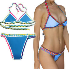Light Blue Triangle Crochet Cutout Strap Bikini Bathing Suit Festival Braid M-2X