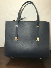 ZARA Women City Bag W/Interior Zipper HandBag Purse Embossed Leather Dark Blue