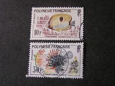 FRENCH POLYNESIA, SCOTT # 200/201(2), 10fr+30fr. VALUES 1962 FISH ISSUE USED