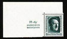 Germany Hitler 1937 Birthday Stamp MNH & Label MH From Souvenir Sheet Mi 650 E