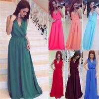 Women Formal Tunic Dress Sleeveless Evening Party Chiffon Long Boho Maxi Vestido