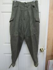 """Swedish Wool Military Army Cargo Trousers 34""""-35"""" Waist 1941 Leather Ankle Strap"""