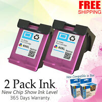 2 Pack 63 XL Color Ink Cartridge for HP Officejet 3830 3832 4650 Envy 4512 4520
