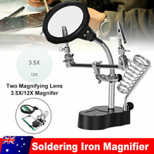 Helping Hand Magnifying Soldering Iron Stand 2 LED Light 3.5X 12X Lens Clamp