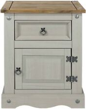 Core Products CORONA Grey 1 Drawer Petite Distressed Waxed Pine Finish Bedside