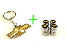 2 in 1 Combo CHEVROLET CHEVY Stainless Steel Valves / Gold Keychain Key chain