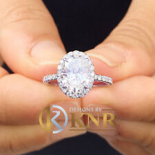 and Natural Diamond Engagement Ring 2.50ctw 14k White Gold Oval Cut Moissanite