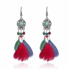 Earrings Women Party Jewelry Gift hot Fashion Feather Drop Dangle Ear Stud Hoop