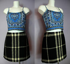 SALE Authentic BURBERRY London Thick Wool Check Skirt UK 12