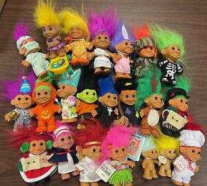 Vintage Troll Collection  21 Russ Troll Dolls 4' 1980's Era Halloween Christmas~