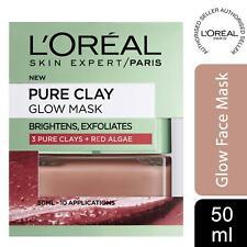 1pk or 2pk L'Oreal Paris Pure Clay Glow Red Algae Exfoliating Face Mask 50ml