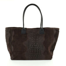 Shopper Schulter Hand Tasche Italy Leder Wildleder Borse Pelle A4 Kroko Optik