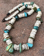 "Green Turquoise & Shell Bead Necklace 22"" Vtg Santo Domingo Kewa Heishi Blue &"
