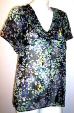 H&M Top 8 Silky Sheer Floral Hippy Boho Flutter Sleeve Shirt Blouse Women's M