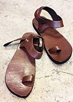 Ring Toe Strap Ankle Flipflop Handmade Brown Leather Boho Hippie Sandal Men's US