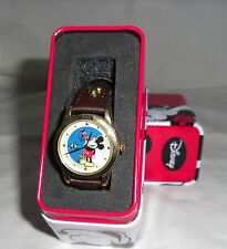 DISNEY MICKEY MOUSE LADIES  BROWN BAND WITH UNIQUE ROTATING DIAL MU2330