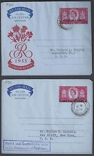 BAHRAIN 1954 TWO AIR LETTERS WITH FDC CANCEL FG2A & FG3 DONALDSON TYPES 26 & 26A