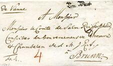"""1783 - """"De Vienne"""" manuscrit et """"Von Wien"""" au tampon sur lettre pour Brünn"""