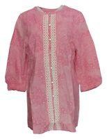 Isaac Mizrahi Live! Size L Woven Crochet Applique Tunic Top Pink/ White A221365