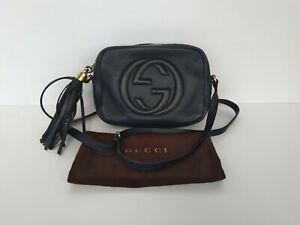 100% Authentic GUCCI Soho Disco Bag Crossbody Dark Blue leather