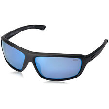 Revo Gust Polarized Men's Wrap Sunglasses Matte Black Frame Blue Mirror Lenses