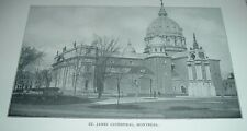 1902 Antique Print ST JAMES CATHEDRAL MONTREAL Canada Quebec