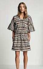 New SCANLAN THEODORE Brown White Congo Stripe Bell Sleeve Cotton Dress SM $500
