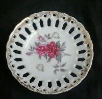Vintage Porcelain Candy Dish Trinket Bowl Cut Out ROSES Gold Trim JAPAN