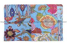 Indian floral patchwork kantha quilt handmade bohemian bedspread king blanket