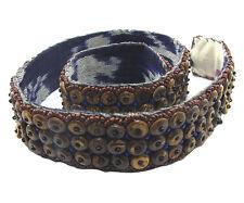 Grano de Coco Cinturón con marrón y azul Semilla Cuentas - 31.5 - Pulgada Ancho (4cm)