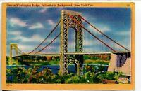 George Washington Bridge, Palisades In Background New York Linen Unposted