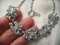 EARLIER VINTAGE Iridescent Enamel Aurora Borealis Rhinestone Crystal NECKLACE