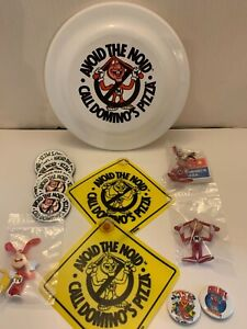 VTG DOMINOS PIZZA AVOID THE NOID LOT FRISBEE, MAGNETS, PINS, SIGNS, 3 NOIDS
