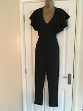 BNWT Boohoo Ladies Black Frill Sleeve Jumpsuit Size 10
