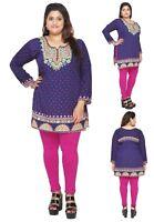 UK STOCK - PLUS SIZE - Women Indian Kurta Kurti Tunic Shirt Dress EPLUS112C