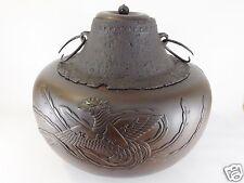 Japanese antique vintage Chanoyu tea brass Furo brazier iron Kama kettle chacha