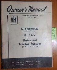 IH International McCormick Deering 27-V Universal Tractor Mower Manual R2 12/50