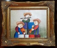 J Roybal Original Oil Painting 3 Girls Playing Instruments Professionally Framed
