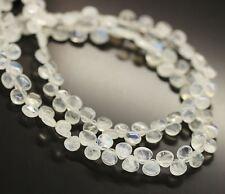 "Blue Fire Rainbow Moonstone Smooth Gemstone Heart Drop Beads Strand 5mm 6mm 9"""