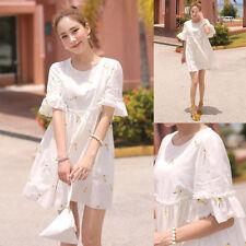 Korean Women Empire Waist Loose Slim Summer Shirt Casual Short Mini Dress White