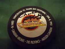 Vintage Charlie Hodge Autographed Canucks Puck from the mid 1990`s